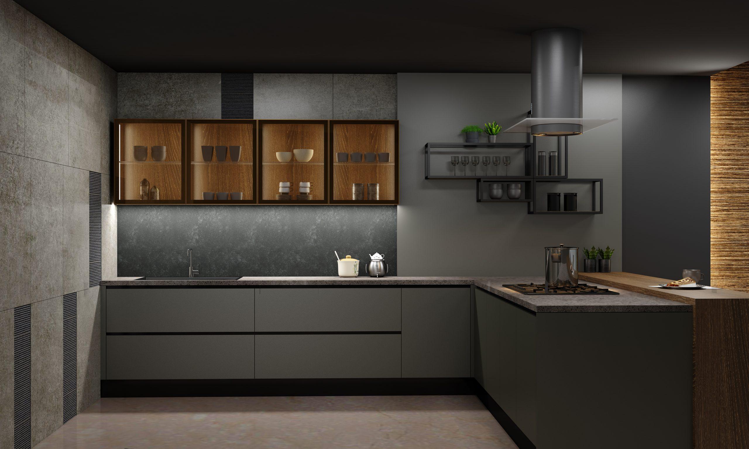 Premiumline Kitchen With Black Handleless Profile in Onxy Dark Grey Matt and Woodgrain Oak Finish