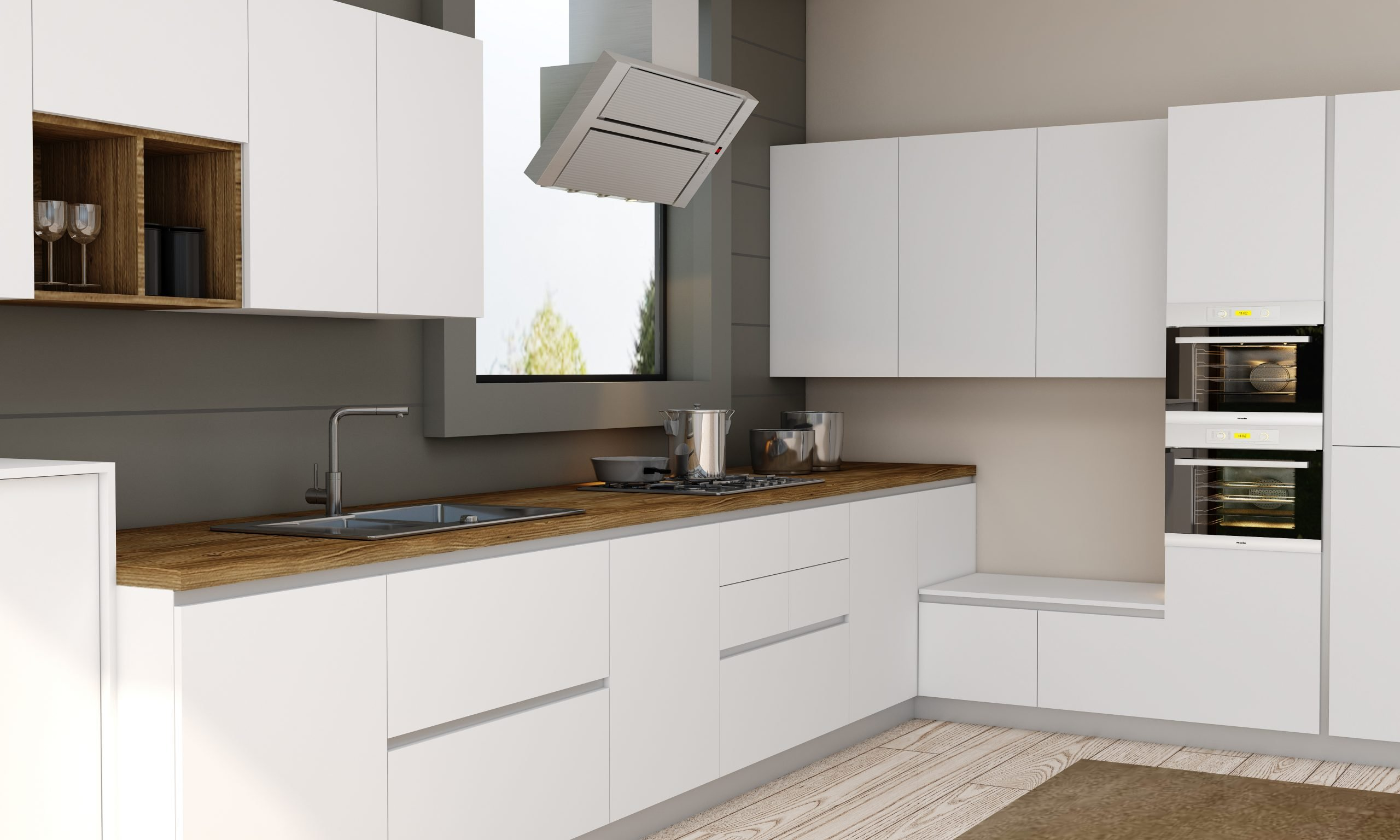 Premiumline Kitchen With Aluminium Handleless Profile in Premium White Matt Finish