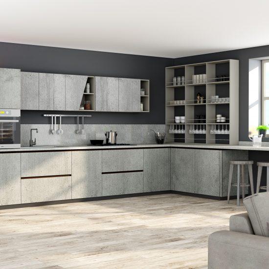 Premiumline kitchen with black handleless profile in Boston concrete finish (1)