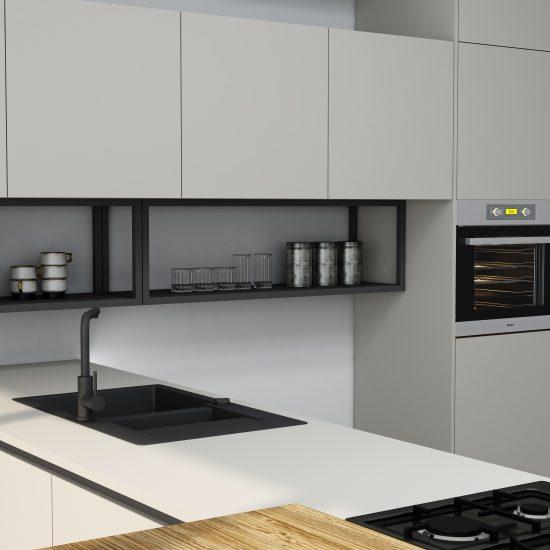 Premiumline kitchen with black handleless profile in Matt Light grey finish (1)