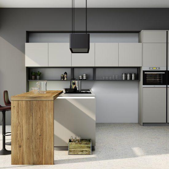 Premiumline kitchen with black handleless profile in Matt Light grey finish (2)
