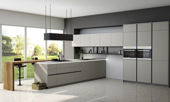 Premiumline Kitchen With Black Handleless Profile in Matt Light Grey Finish