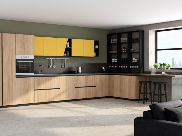 https://www.inspiredelements.co.uk/wp-content/uploads/2021/04/Premiumline-kitchen-with-black-handleless-profile-in-Sand-Orleans-Oak-wood-grain-and-sunshine-matt-finish-2-700x524.jpg