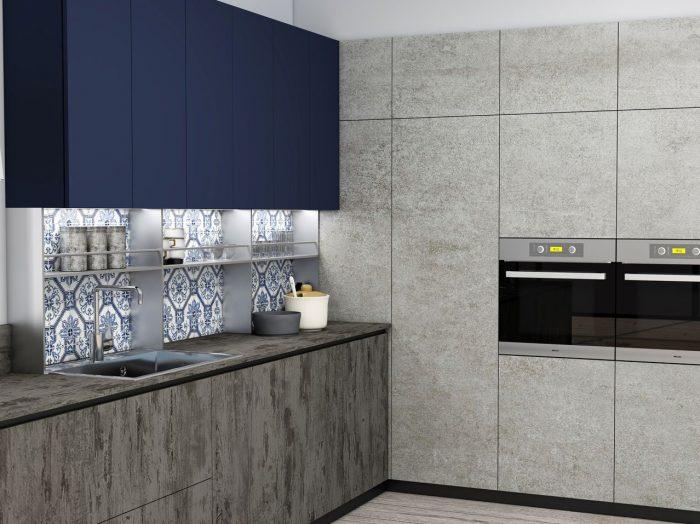 https://www.inspiredelements.co.uk/wp-content/uploads/2021/04/Premiumline-kitchen-with-black-handleless-profile-in-Syncrone-Ice-textured-beton-and-Indigo-blue-matt-finish-1-700x524.jpg