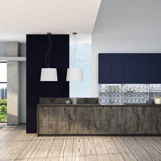 Premiumline kitchen with black handleless profile in Syncrone Ice textured beton and Indigo blue matt finish