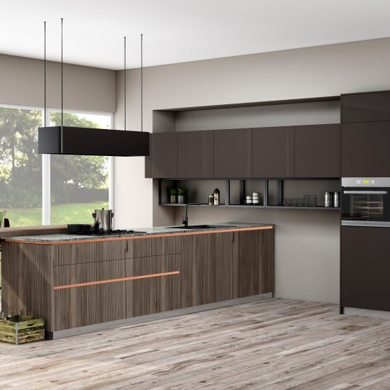 Premiumline kitchen with brass handleless profile along with island in Cannella and Penelop textured finish (1)