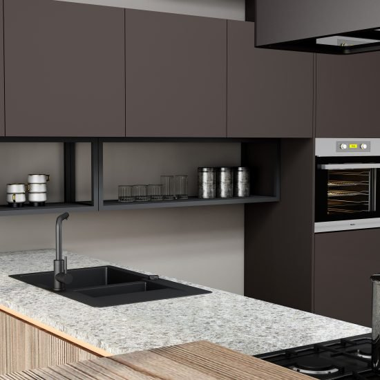 Premiumline kitchen with brass handleless profile along with island in Cannella and Penelop textured finish (2)