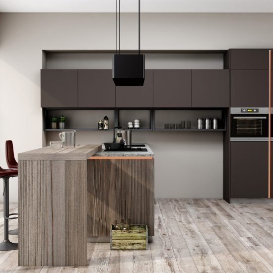 Premiumline kitchen with brass handleless profile along with island in Cannella and Penelop textured finish (3)