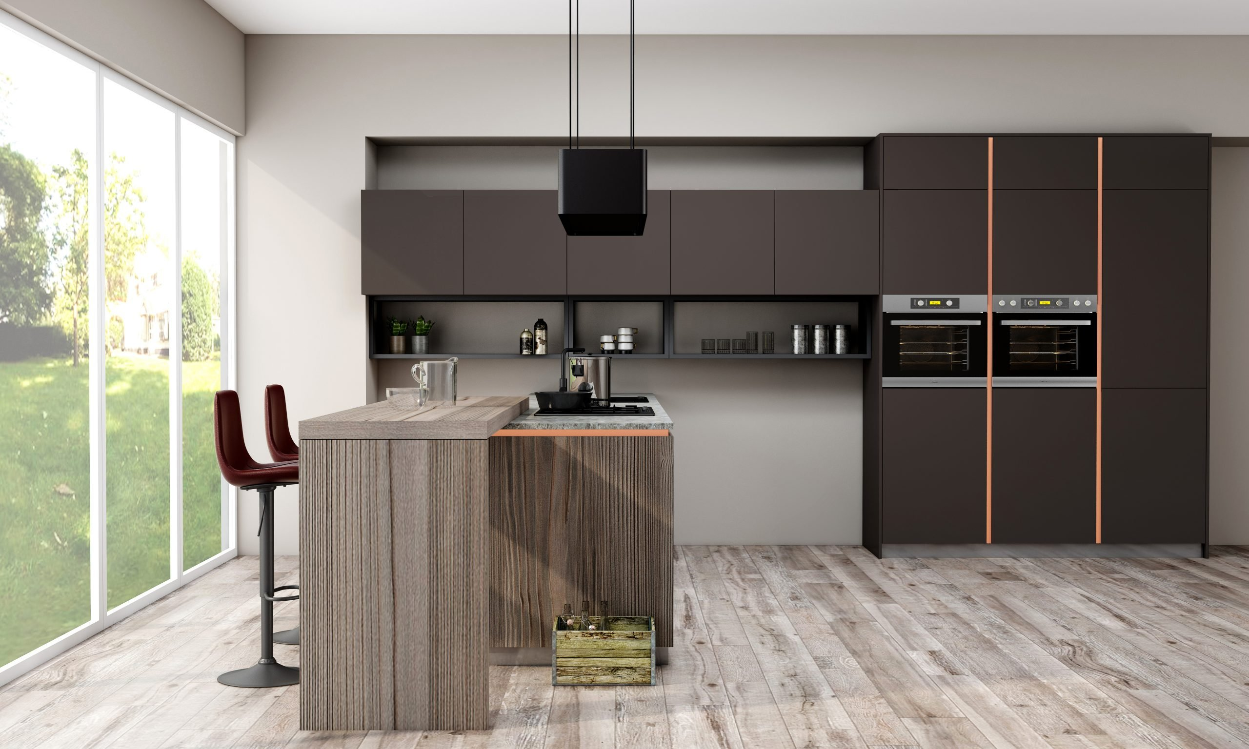 Premiumline Kitchen With Brass Handleless Profile Along With Island in Cannella and Penelop Textured Finish