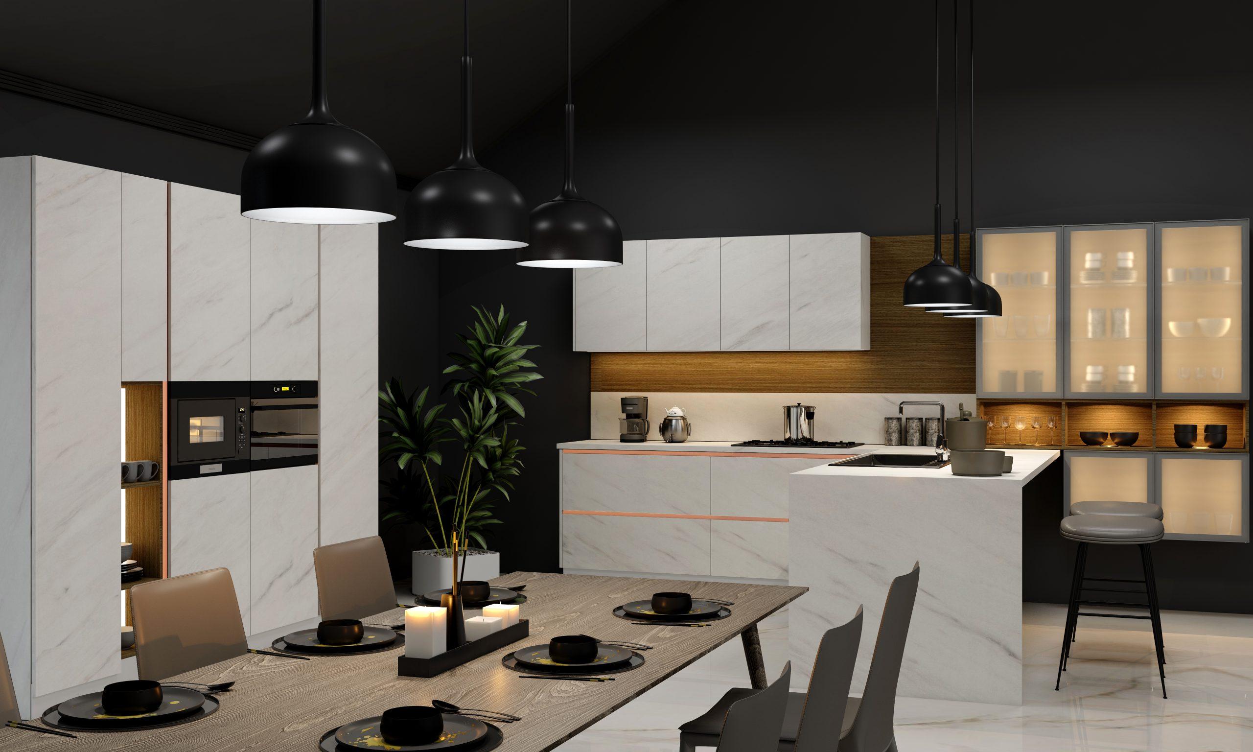 Kitchen with White stone grain finish