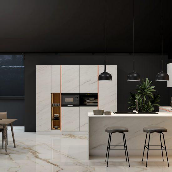 Premiumline kitchen with brass handleless profile in Levanto stone gloss finish