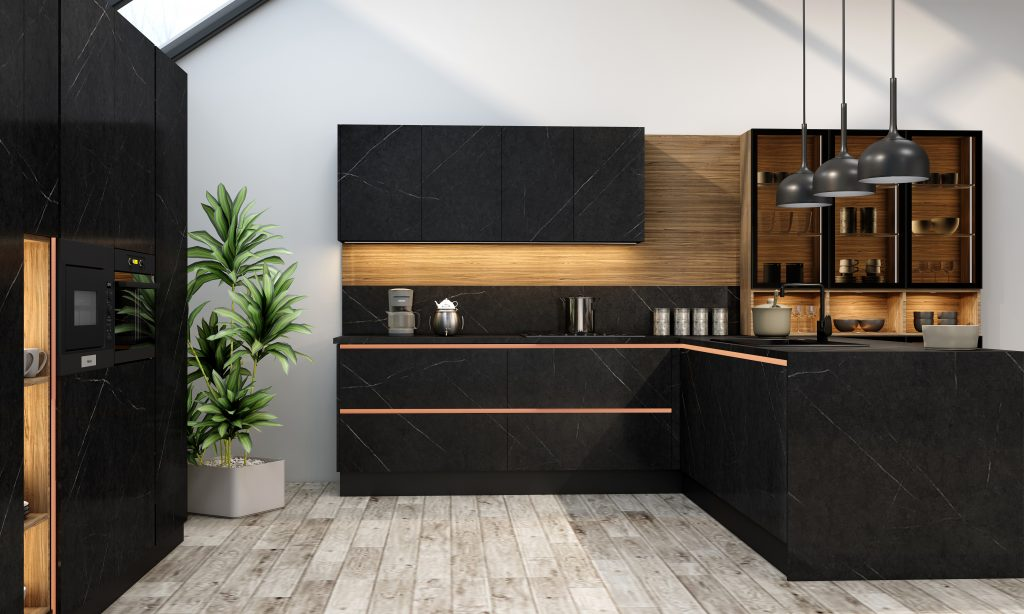 Handlless Kitchen with island in black matt and woodgrain finish gold handle profile