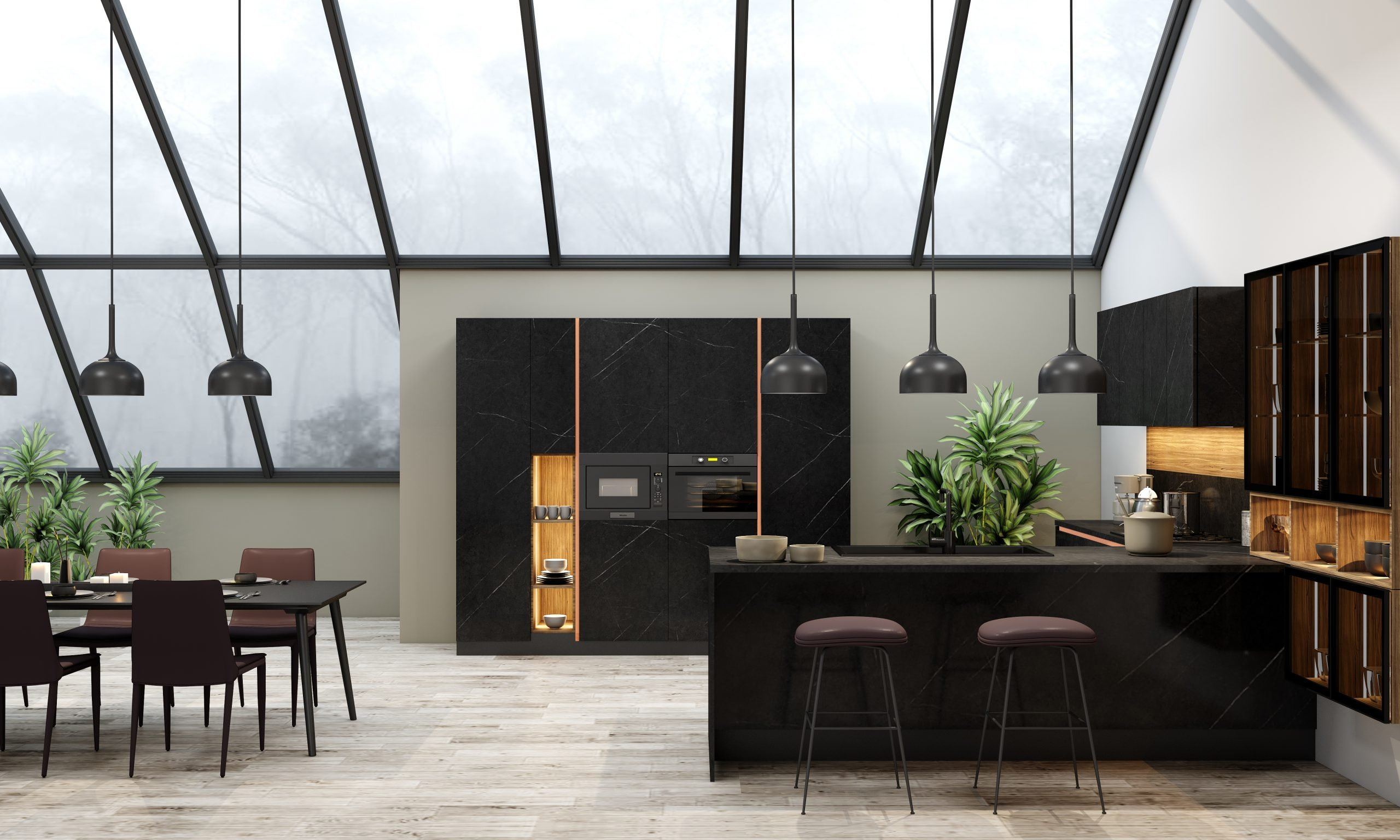 Premiumline Kitchen With Gold Handleless Profile in Levanto Black Stone Finish