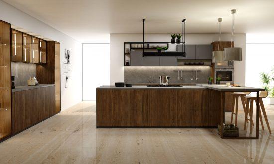 Premiumline kitchen with island and glass cabinetsin Natural walnut and dust grey matt and woodgrain finish (1)