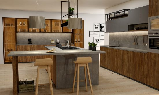 Premiumline kitchen with island and glass cabinetsin Natural walnut and dust grey matt and woodgrain finish (2)