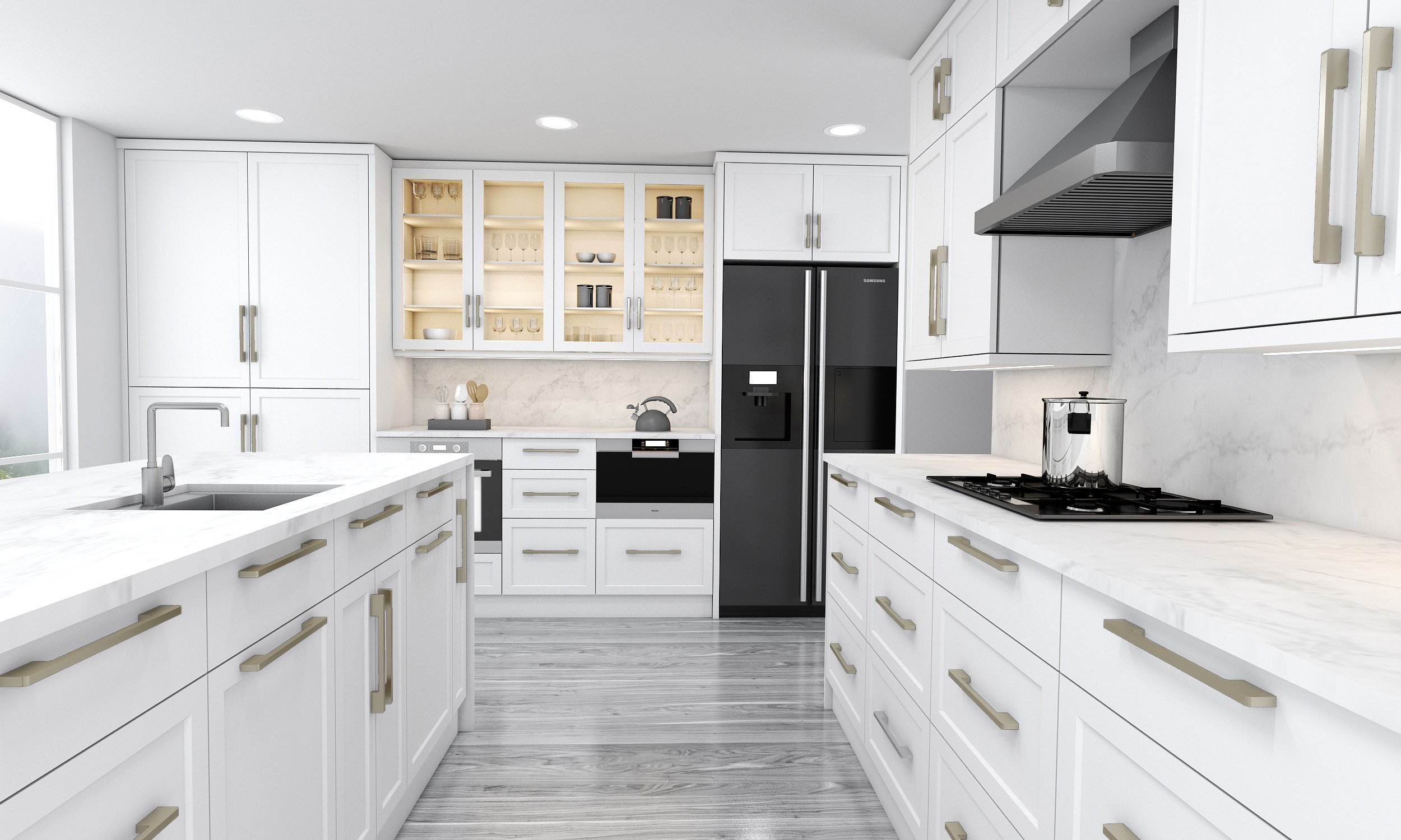 Shaker Style L Shape Kitchen in White Finish With Island