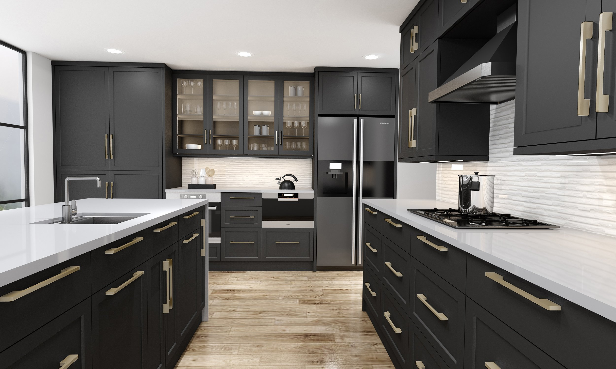 Shaker Style L Shape Kitchen in Black Finish With Island