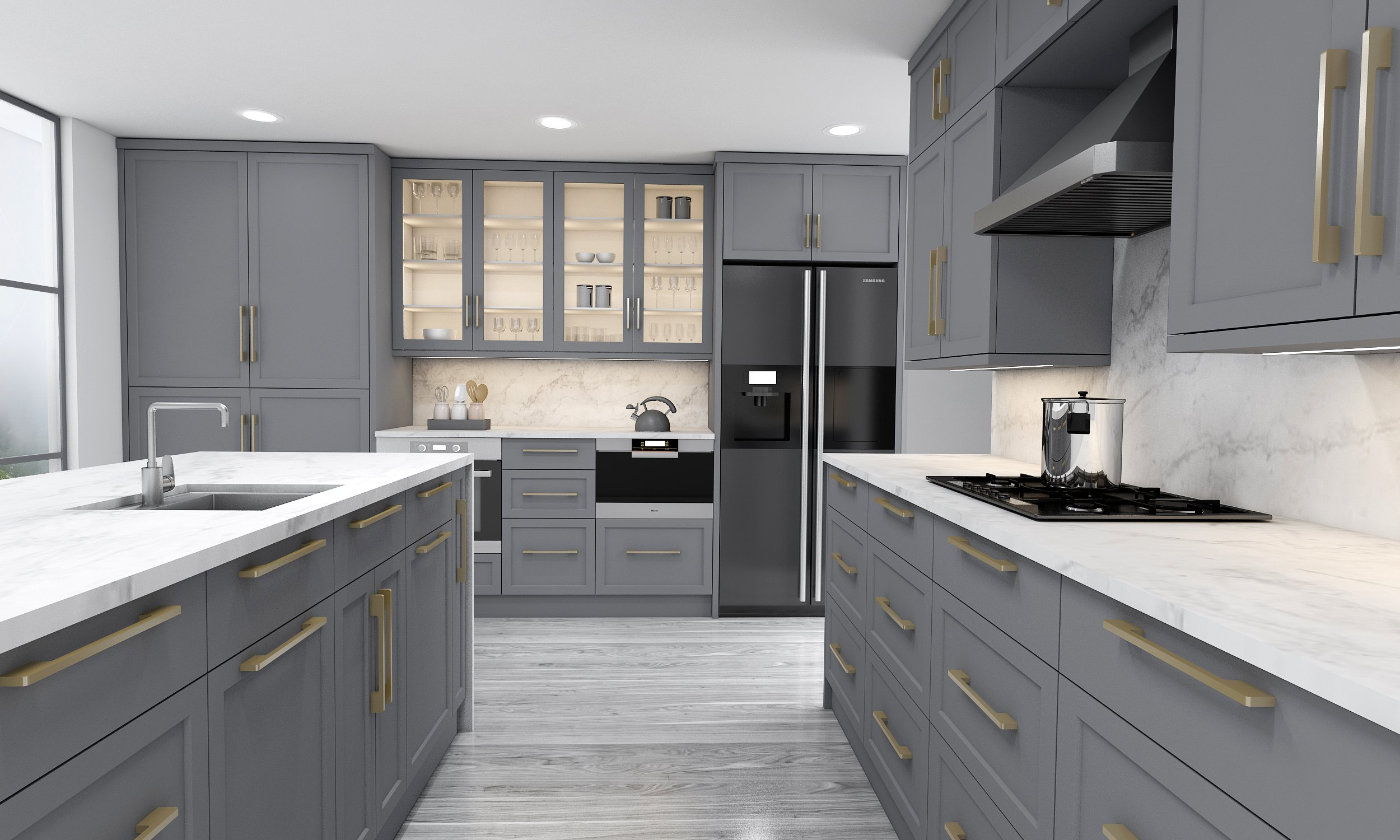Shaker Style L Shape Kitchen in Dove Finish With Island