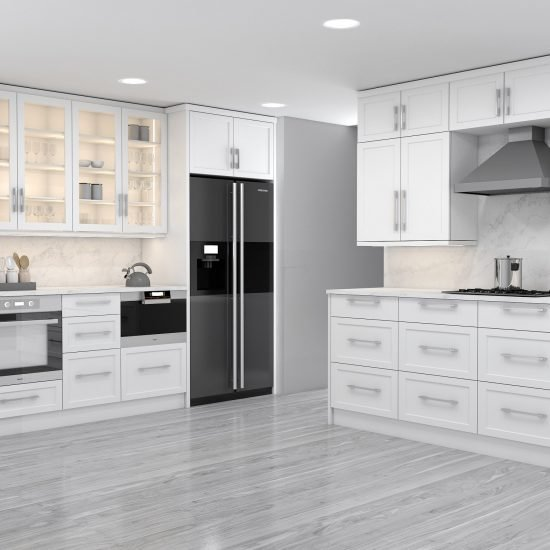 Shaker style L shape Kitchen in white finish with Island_5 (1)