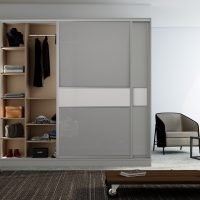 Sliding Framed Fitted Wardrobe in Combination of Grey Gloss and Snow white finish