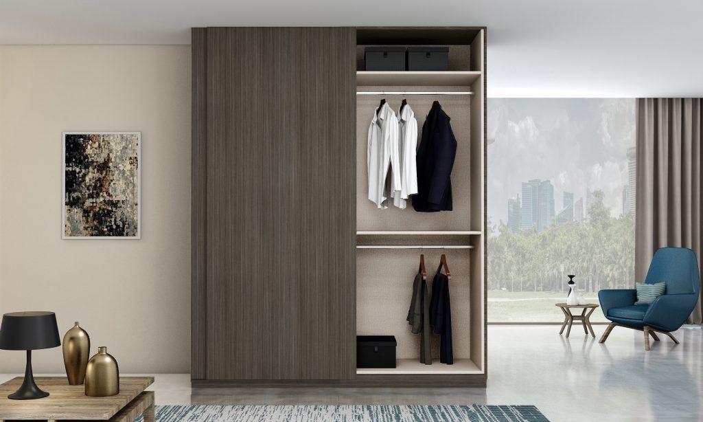 Top hung Frame less sliding wardrobe in dark walnut finish