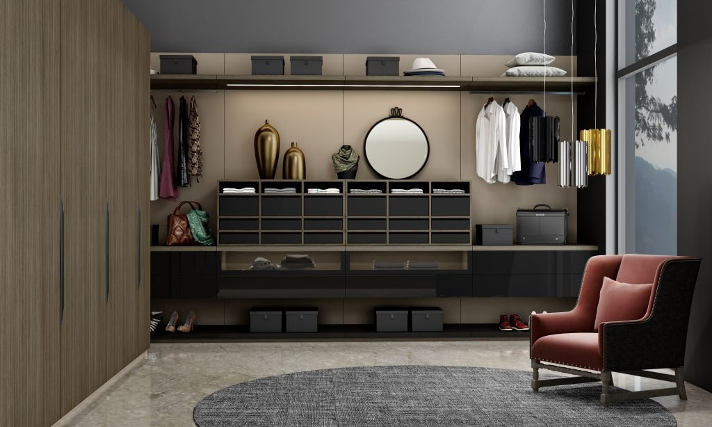 Luxury Walk in fitted wardrobe with hinged wardrobe in combination of Sable wood and dark grey