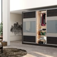 Wooden sliding Fitted Wardrobe with five panels in combination of Dark woodgrain, Snow White and light Grey Gloss finish