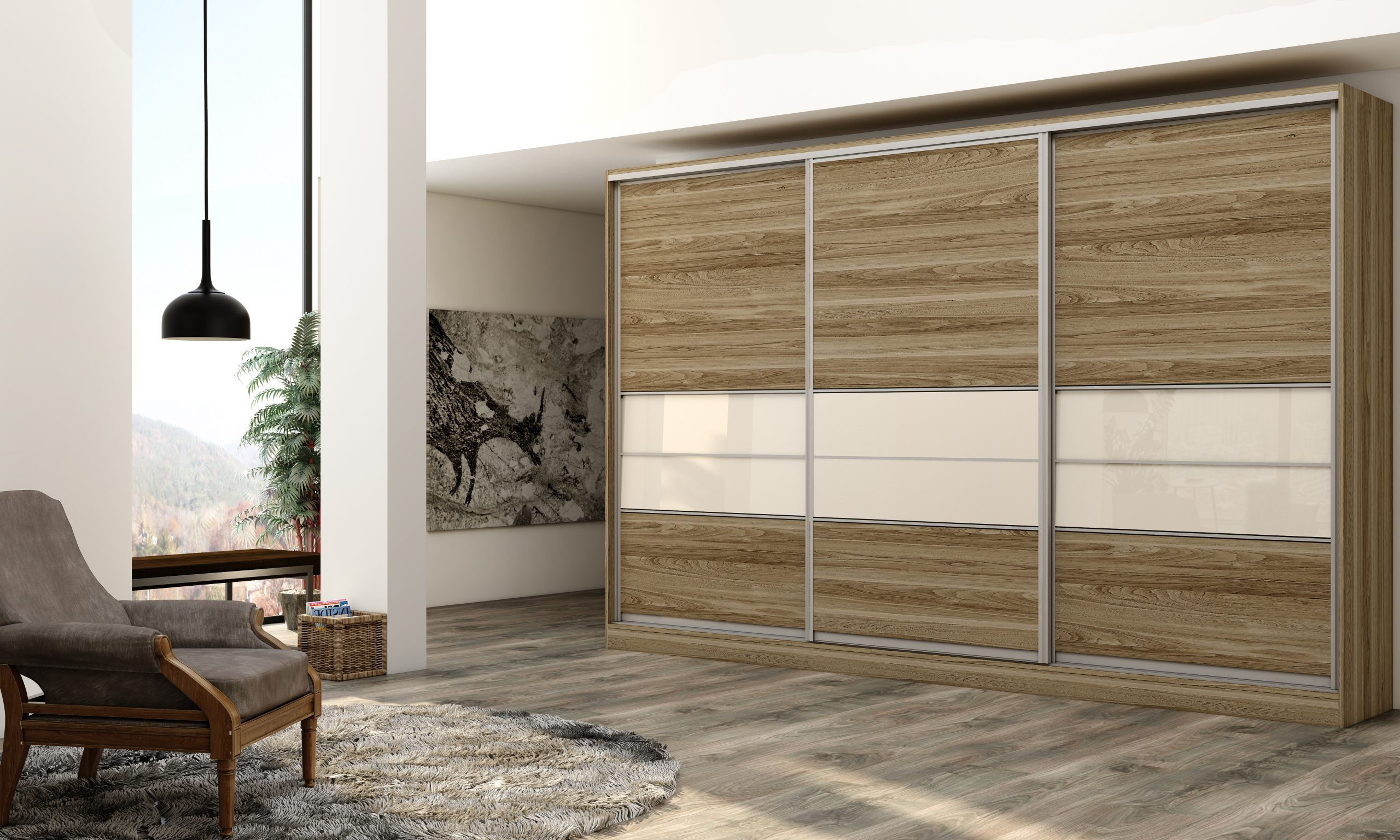 Wooden sliding Fitted Wardrobe with three panels in combination of wood grain and Cream finish