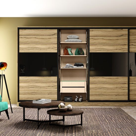 Wooden sliding fitted wardrobe with three panels in combination of oak woodgrain and black gloss finish