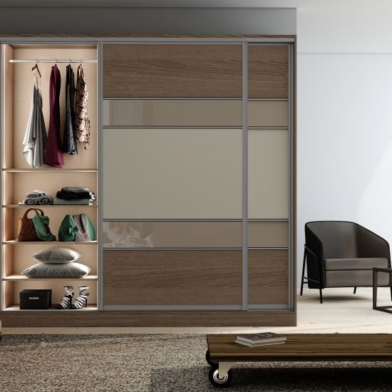 Sliding Framed Fitted Wardrobe with five panels in Combination of wood grain, alabaster White and Cashmere Gloss