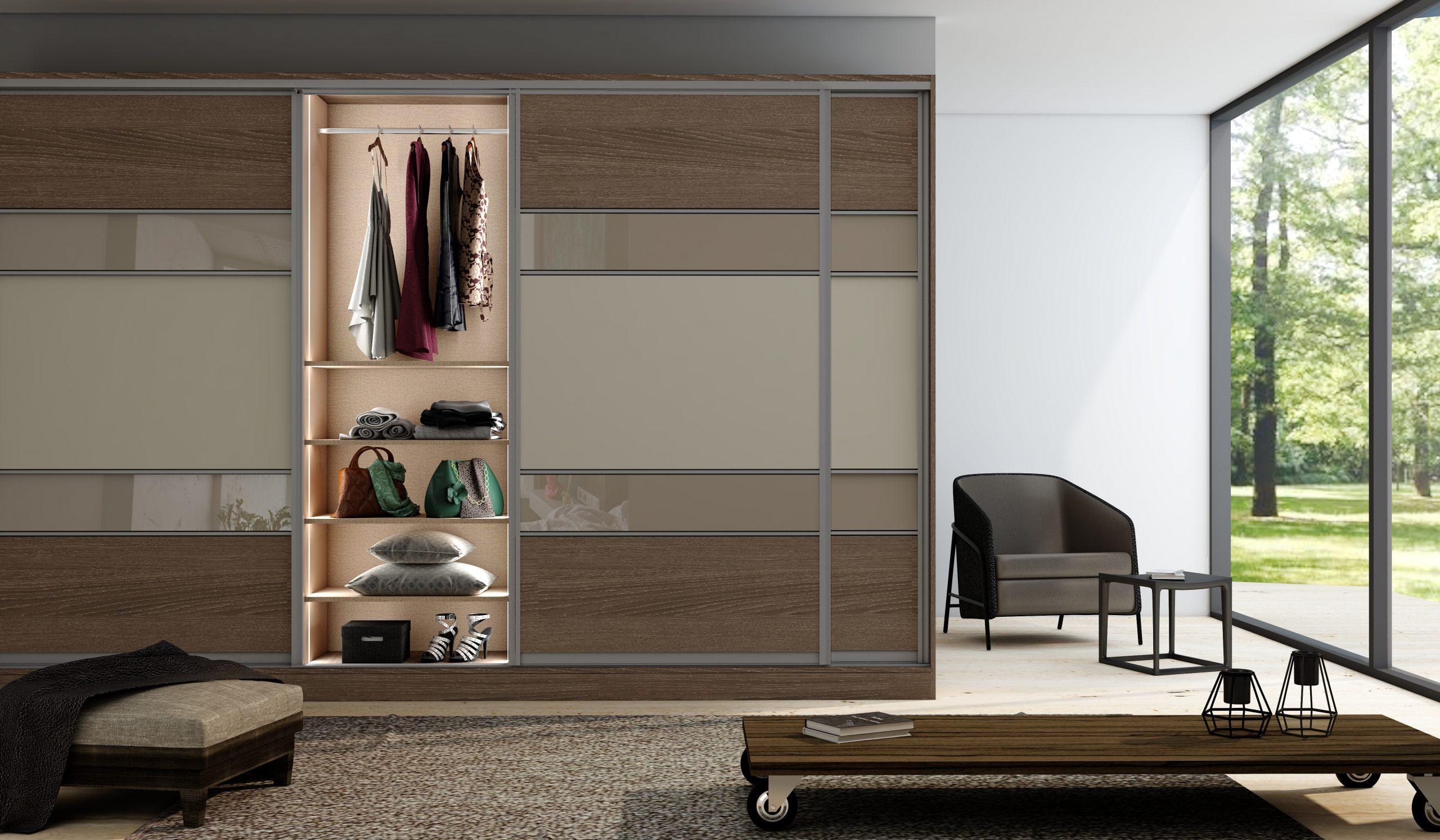 Wooden Built-in Sliding Fitted Wardrobe Oak With Five Panels in Combination of Dark Woodgrain