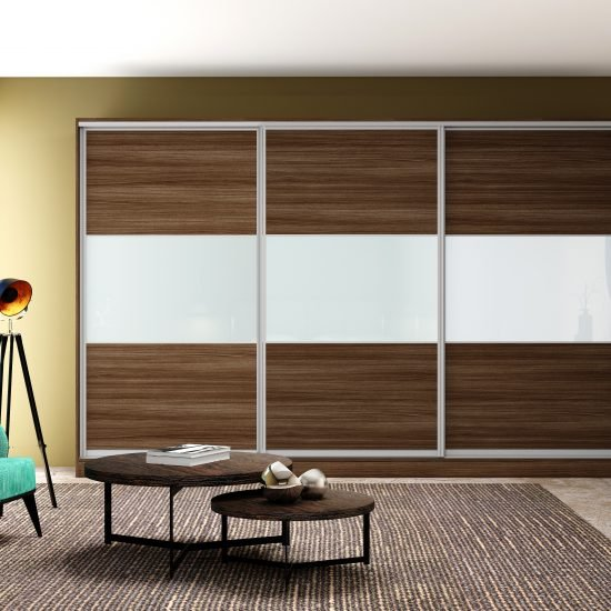 Sliding Framed Fitted Wardrobe with three panels in Combination of wood grain, white glass classic champagne