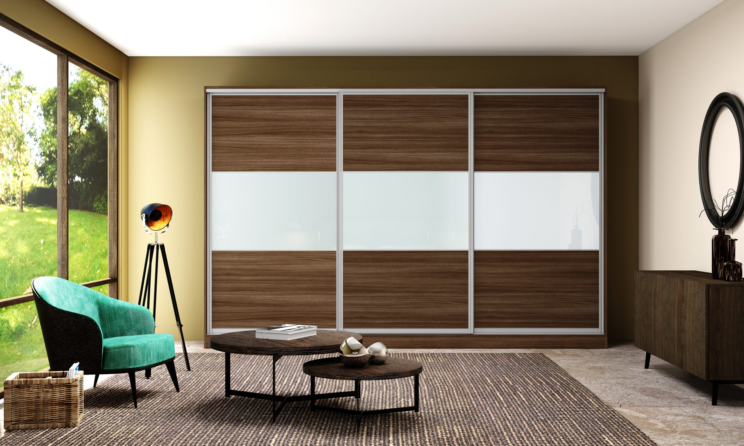 Built-in Sliding Fitted Wardrobe With Five Panels in Combination of Mirror and Oak Grain
