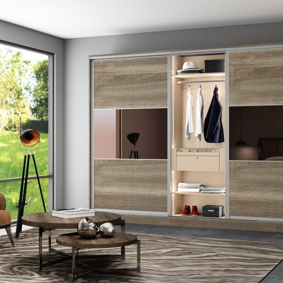 Wooden sliding Fitted Wardrobe with three panels in combination of wood grain and bronze mirror
