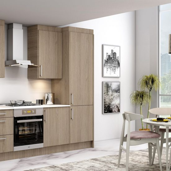 10ft Easyline kitchen with handle in Grey Vicenza Oak finish (1)
