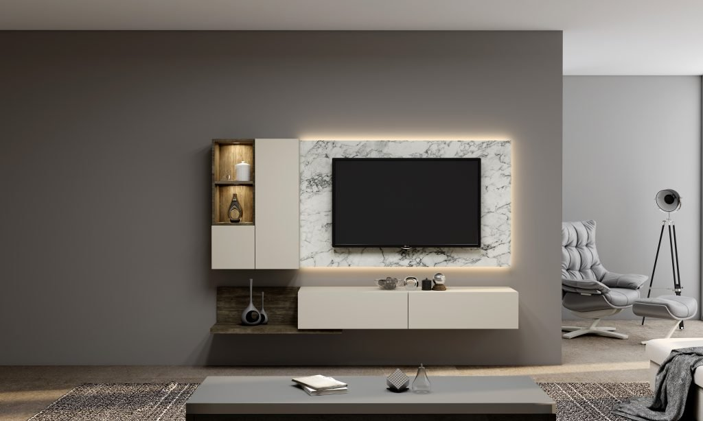 Gloss White TV unit with Storage in Open shelf, Wall Units, Drawers in combination with Cream, Natural Carini Walnut and White Levanto Marble