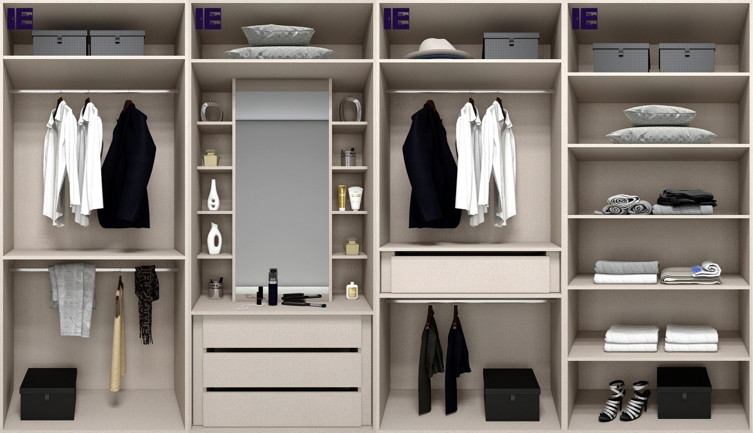 Wardrobe Storage Solution with Mirror Dressing Table