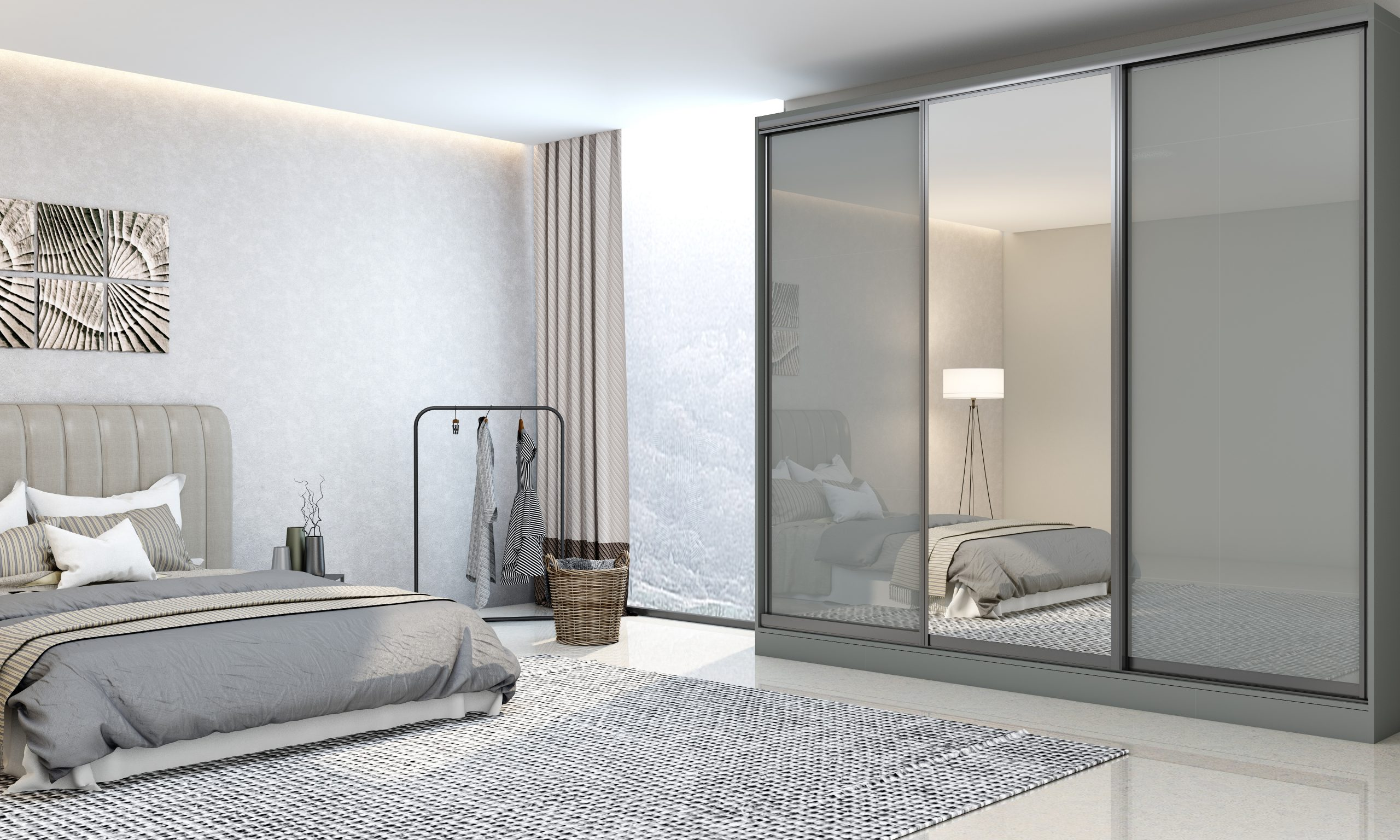 Bedroom Bespoke wooden sliding wardrobe in dust grey gloss finish with full silver Mirror