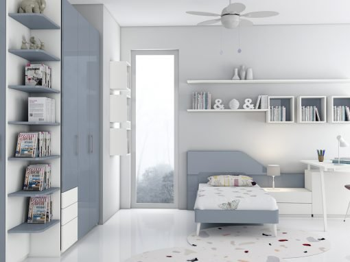Children Bedroom with White and Denim Blue Finish