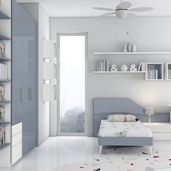 Children Bedroom Fitted Wardrobe Storage With Study and Alcoves in Alpine White and Danim Blue Finish
