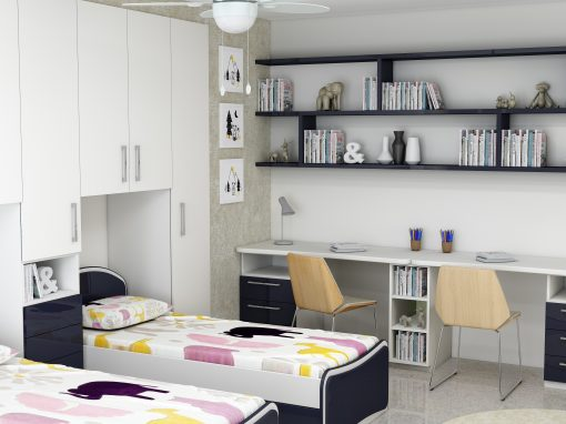 Children Room Fitted Wardrobe Storage With Study and Alcoves