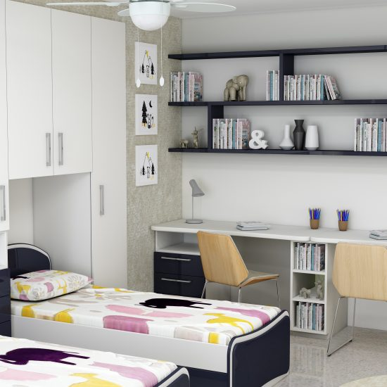 Children room fitted wardrobe storage with study and alcoves in alpine white and indigo blue finish