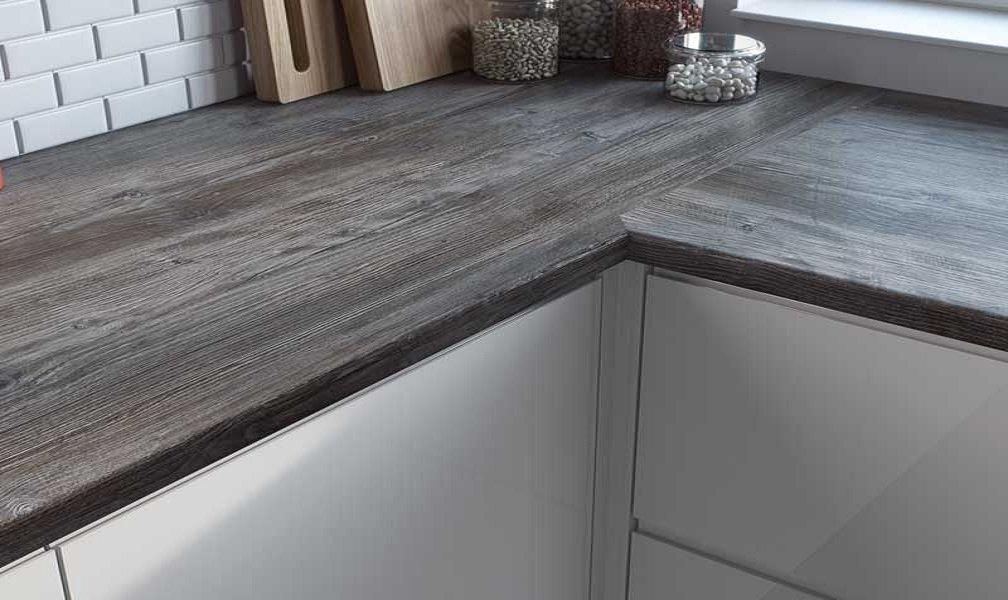Fitted Wooden Kitchen with Dark wood Laminate Worktop