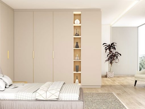 Eclectic Fitted Hinged Corner Wardrobes in Cashmere Matt