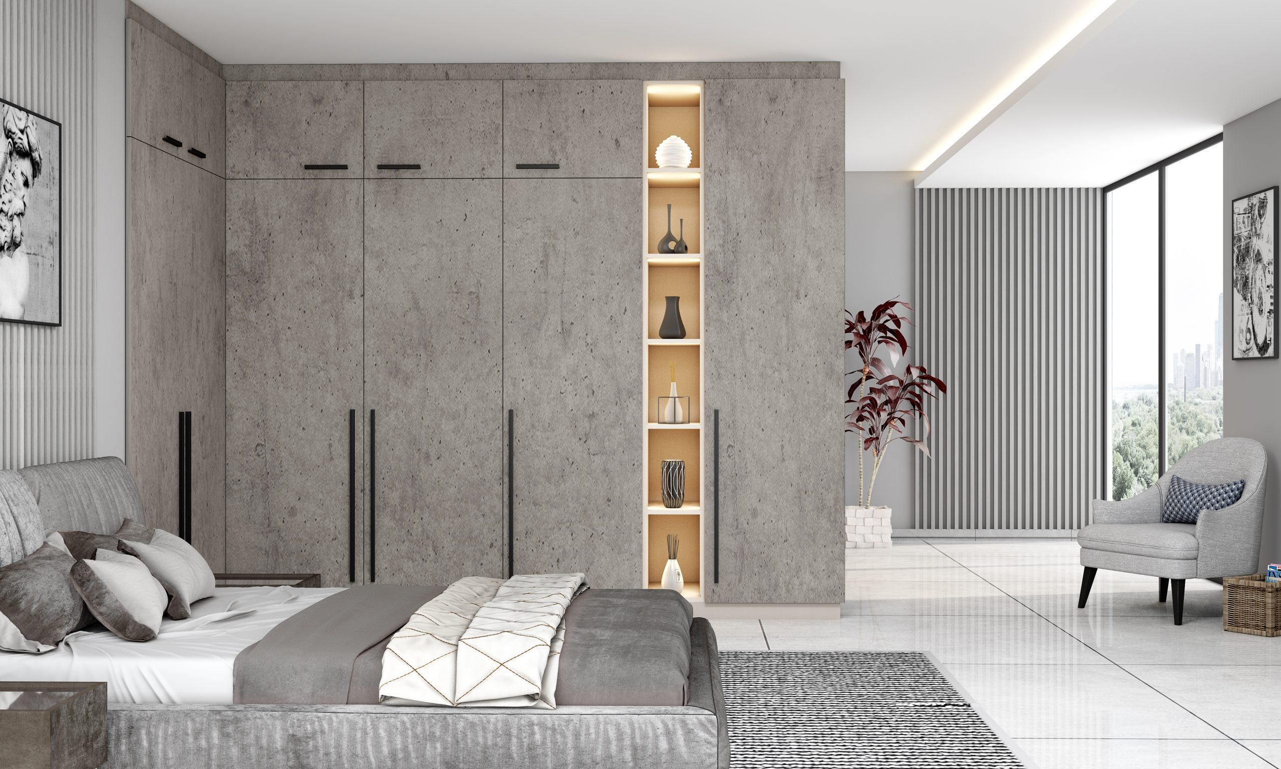 Fitted Hinged Corner Wardrobes in Bedroom With Concrete Finish