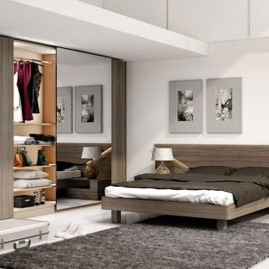 Bedroom With Frameless Sliding Wardrobe With Full Panel in Combination of Woodgrain and Mirror