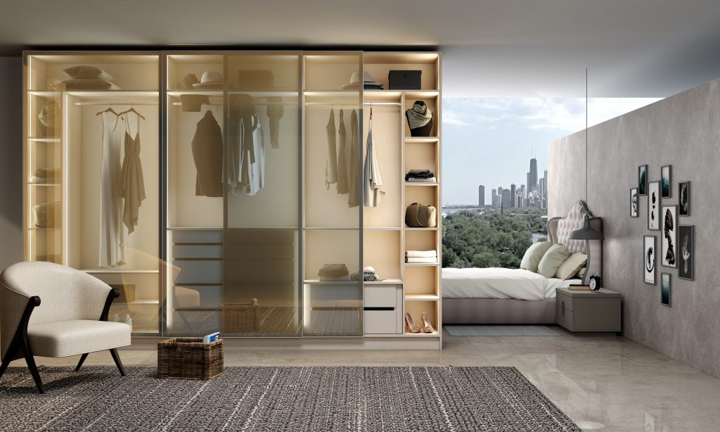 Glass Framed Sliding Door Wardrobe With Grey Frame and Tinted Glass Front