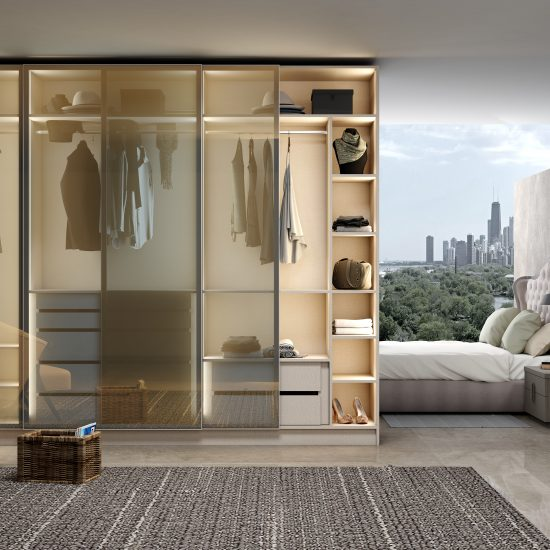 Glass framed sliding door wardrobe with grey frame and tinted glass