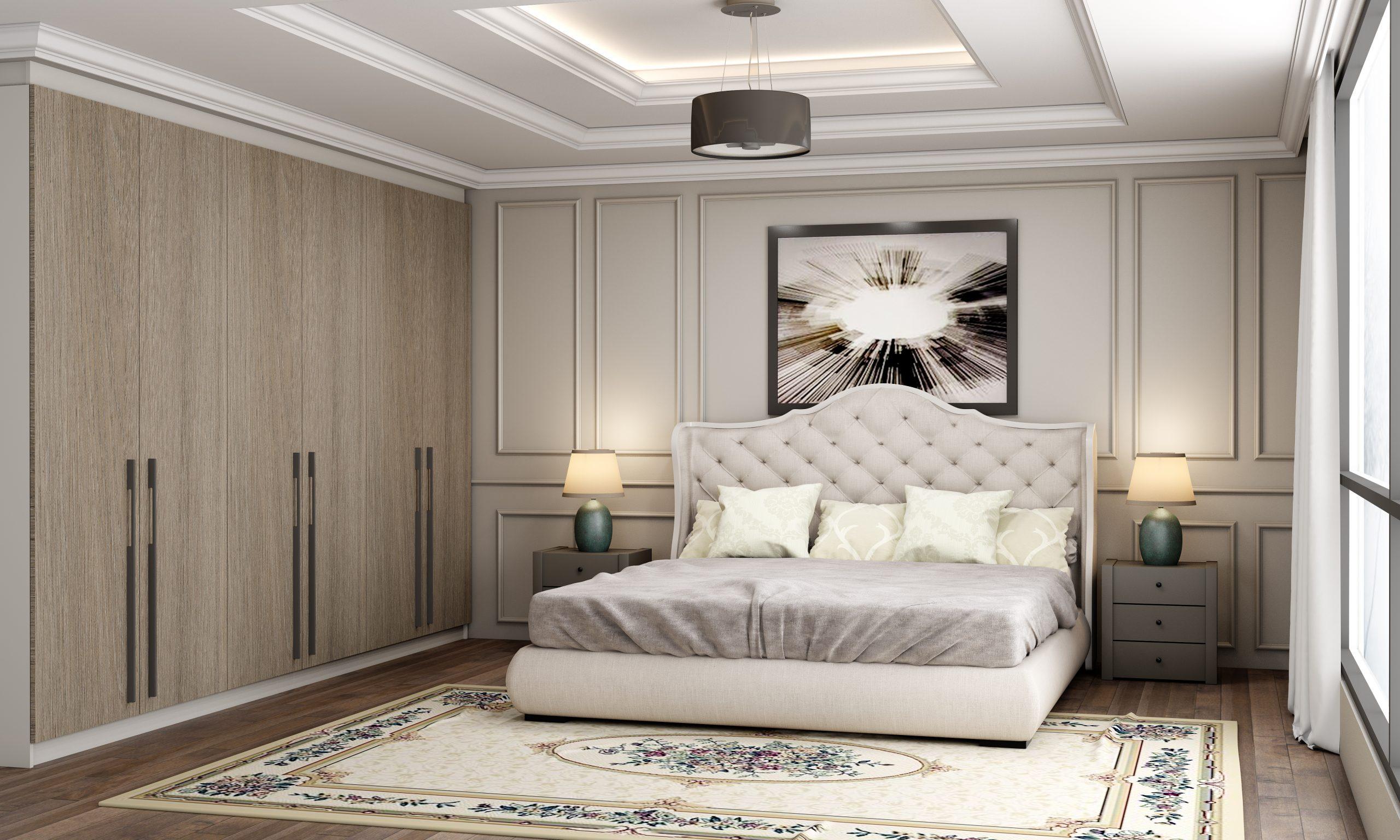 Fitted Bedroom In Beige Grey Lorenzo Oak Pearl grey