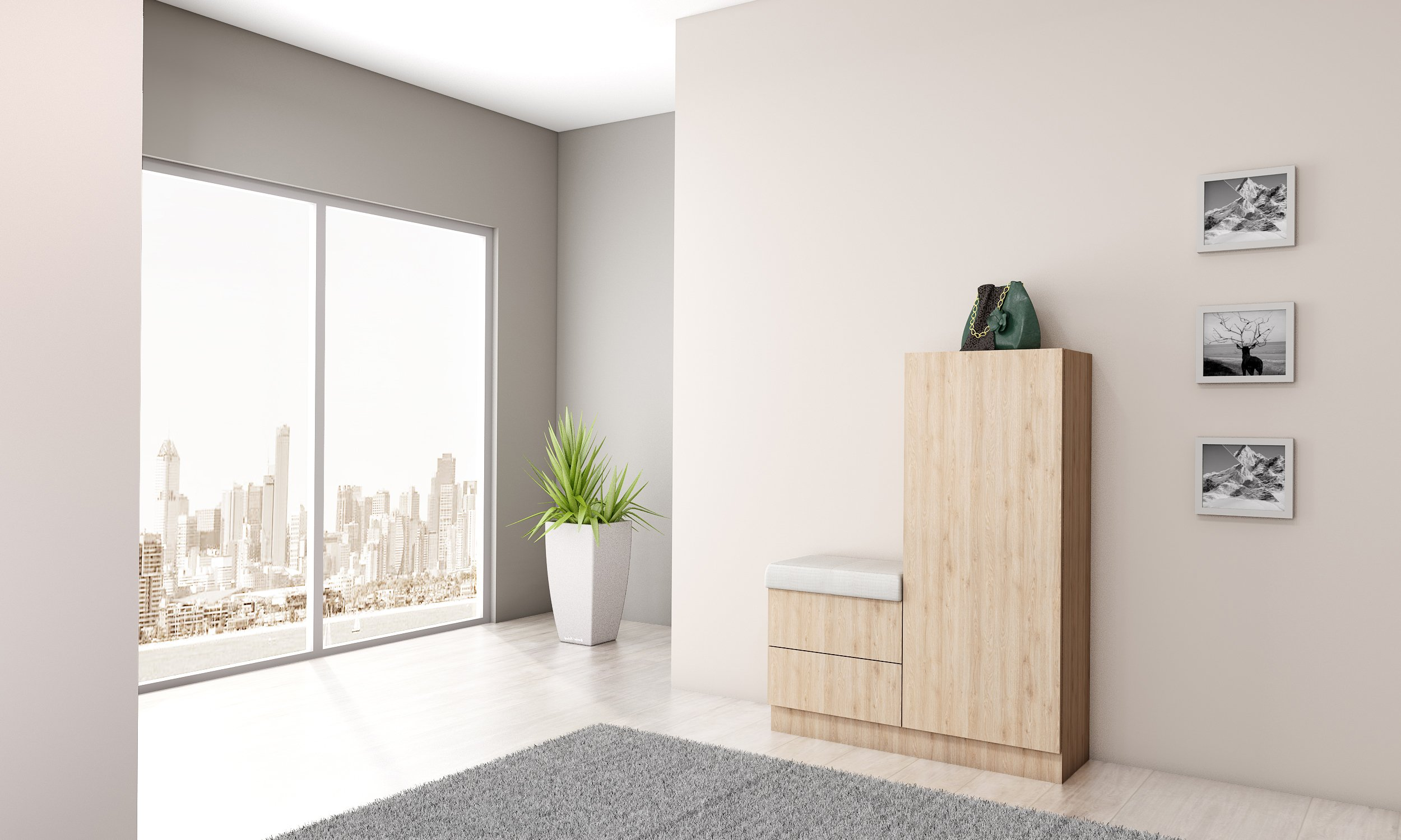 Hallway small space storage cabinet with sitting in light walnut finish